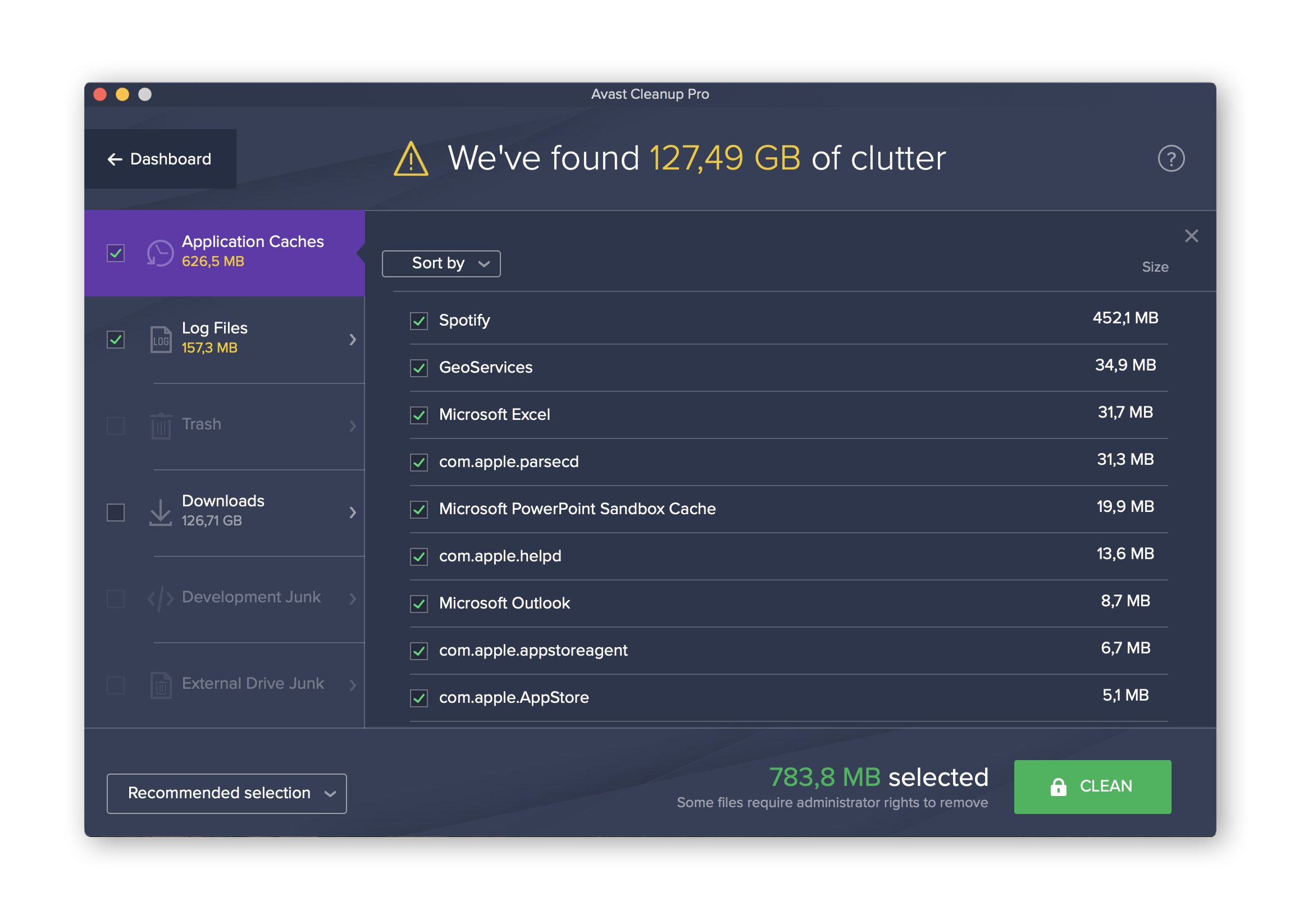 Avast Cleaner for Mac removes junk files and duplicates