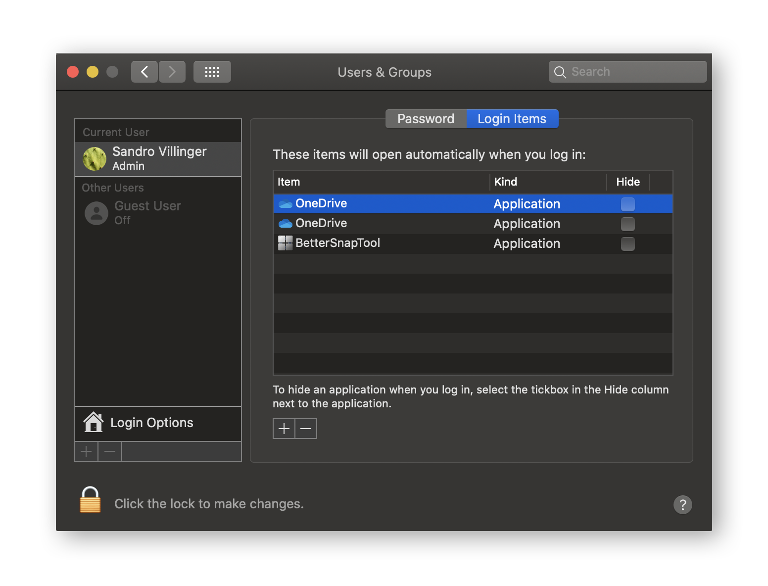 Manage macOS startup items
