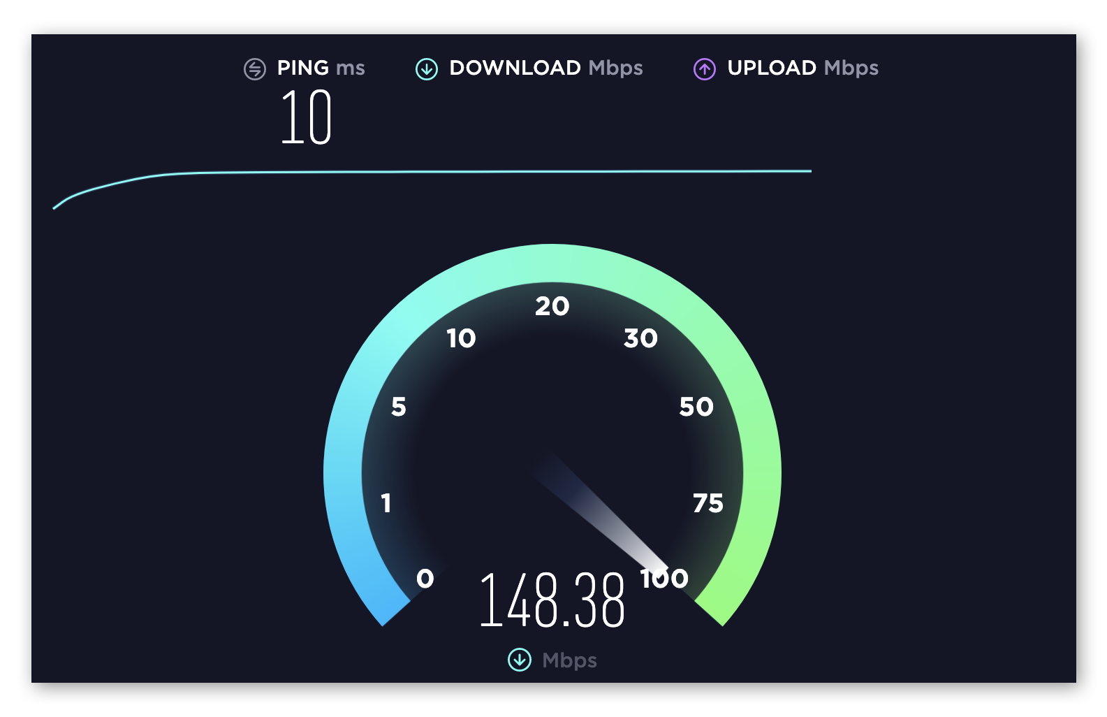 Performing an internet speed test at www.speedtest.net