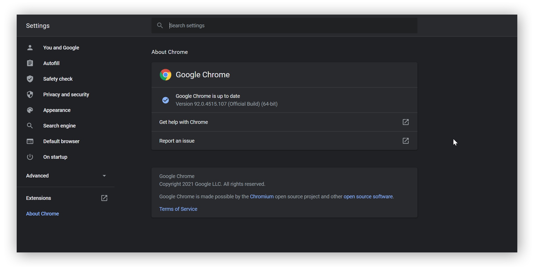 The About Google Chrome setting displayed, showing that Google Chrome is up to date.