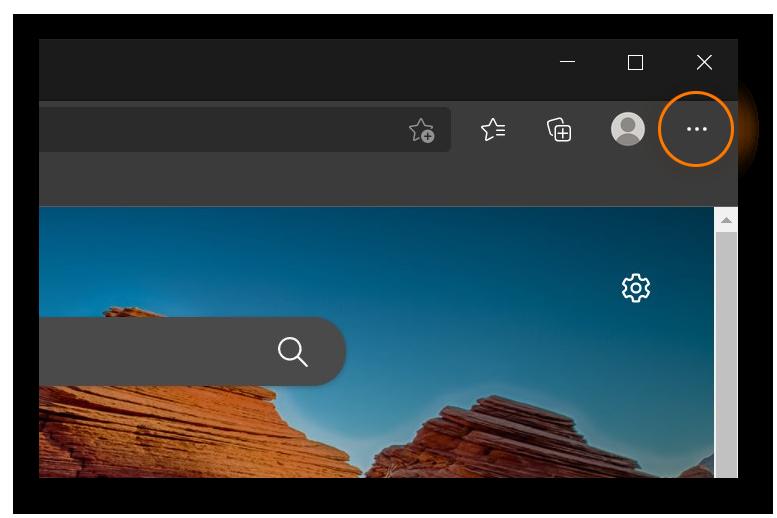 A screenshot of Microsoft Edge's home screen with the Menu button circled.