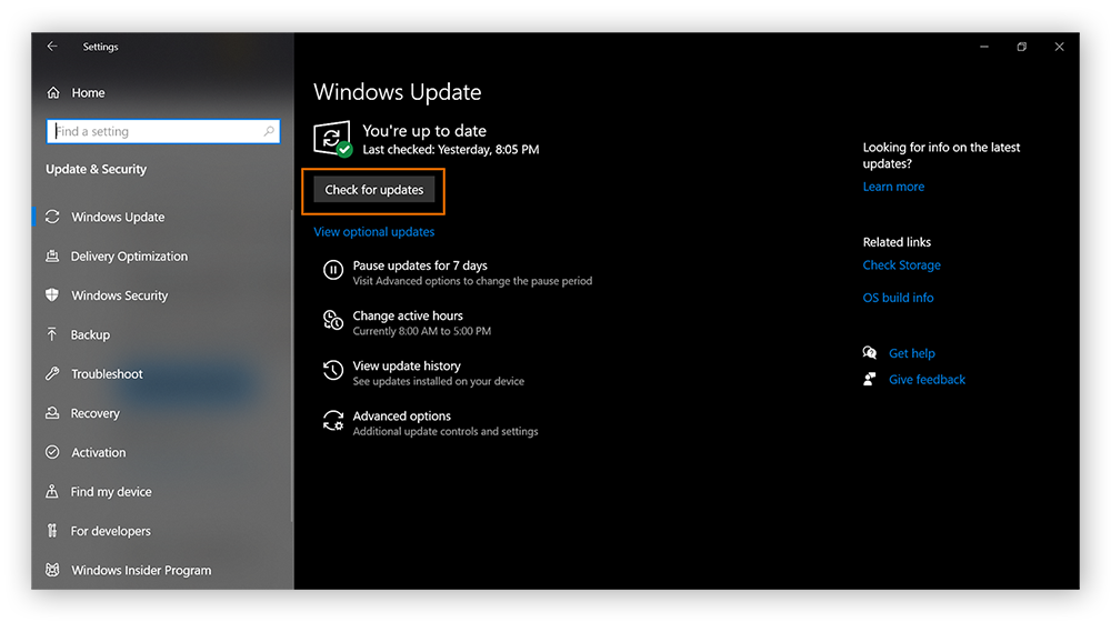 The Windows Update screen in Windows Settings, with Check for Updates circled.