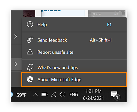 A screenshot of the Help and Feedback submenu open, with About Microsoft Edge circled.
