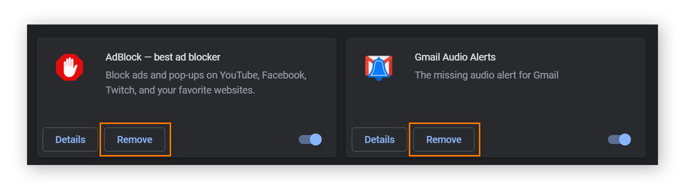 """The extensions menu in Google Chrome. Next to each extension, there is a button that says """"Remove."""""""