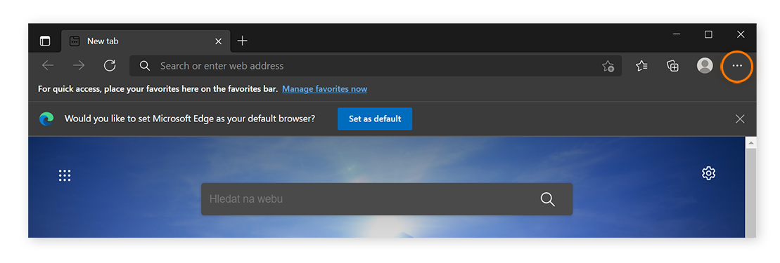 Screenshot of Microsoft Edge with three dots circled in upper right.