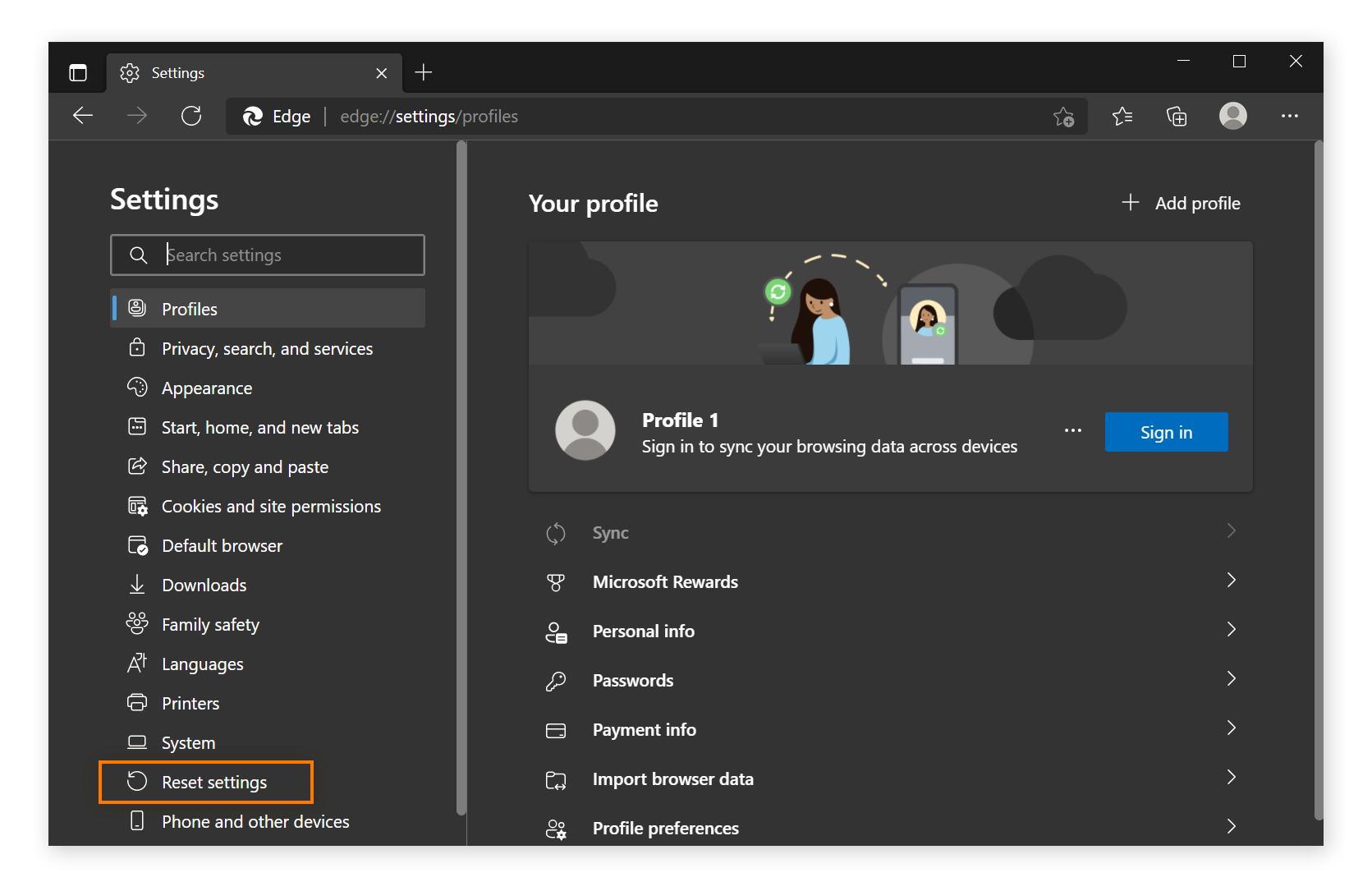 The Settings menu in Microsoft Edge with Reset settings circled.