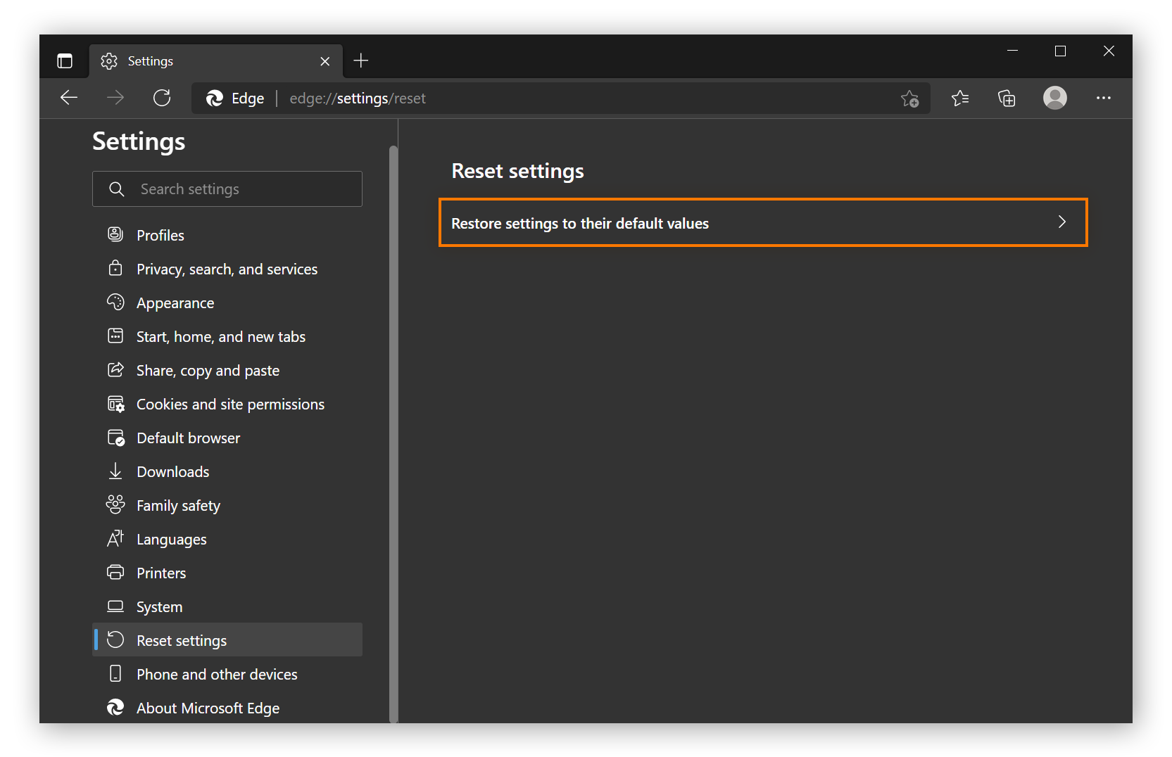 The reset settings menu in Microsoft edge.
