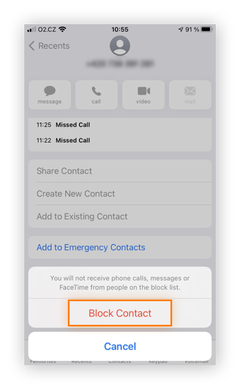Selecting Block contact prevents your iPhone from receiving calls or messages from the spoofed phone number.