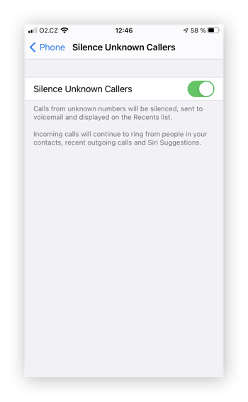 Selecting Silence Unknown Callers in iPhone settings to prevent further spam calls.