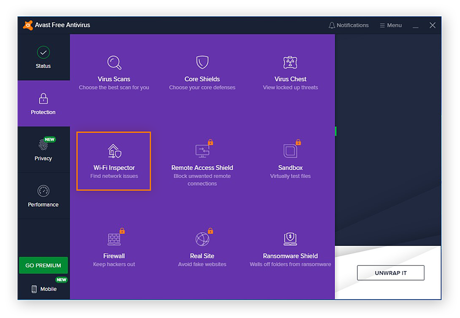 Opening the Wi-Fi Inspector in Avast Free Antivirus for Windows 10
