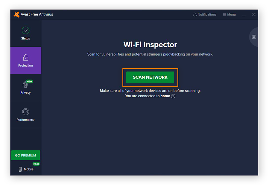 Initiating a network scan with Avast Free Antivirus for Windows 10