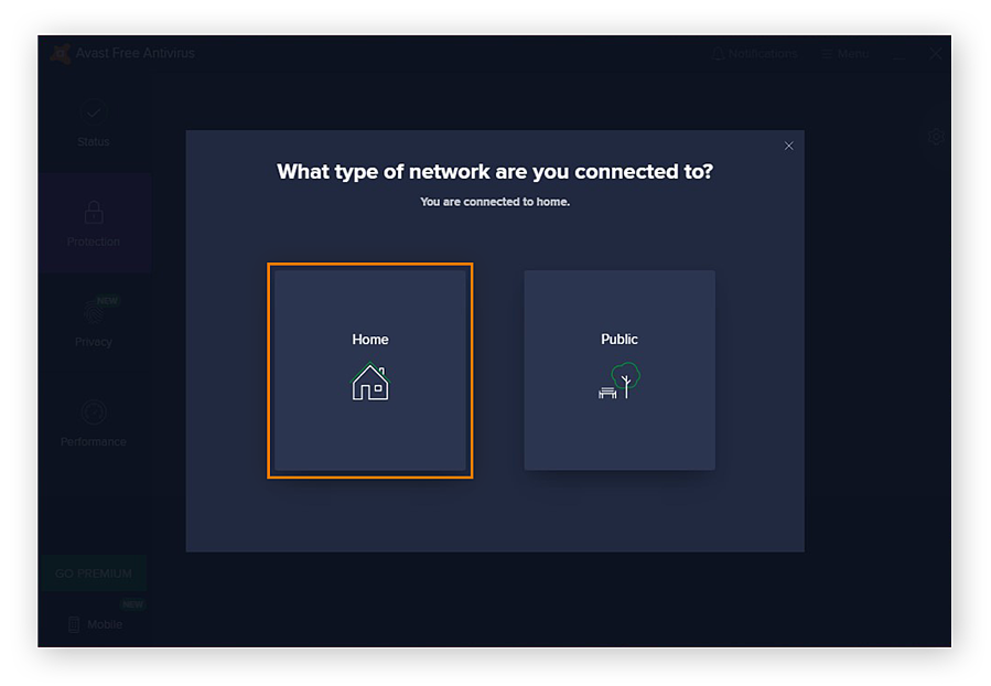Identifying a network as a home network with the Wi-Fi Inspector in Avast Free Antivirus