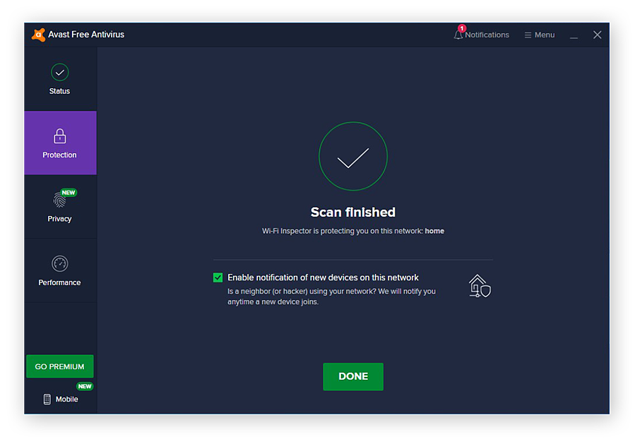 A completed Wi-Fi scan with Avast Free Antivirus