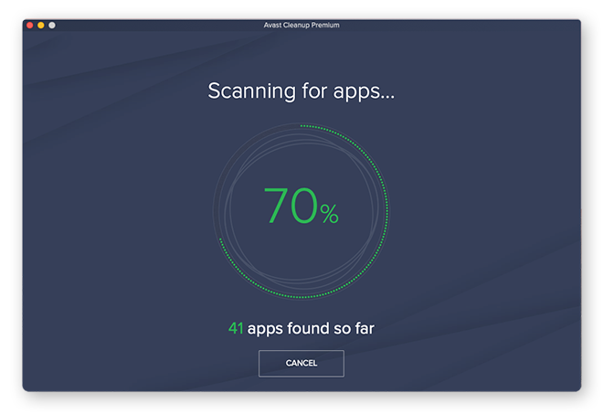 Avast Cleanup quickly scanning to find all apps on your system.
