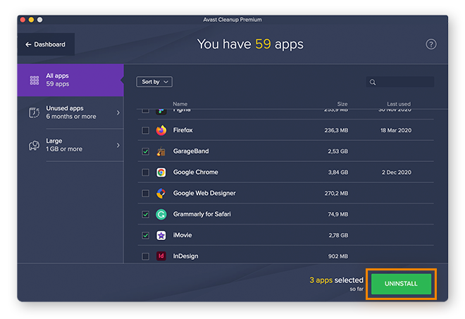 Avast Cleanup sortiert Ihre gesamten Apps in folgende Kategorien: häufig benutzt, selten benutzt und groß.