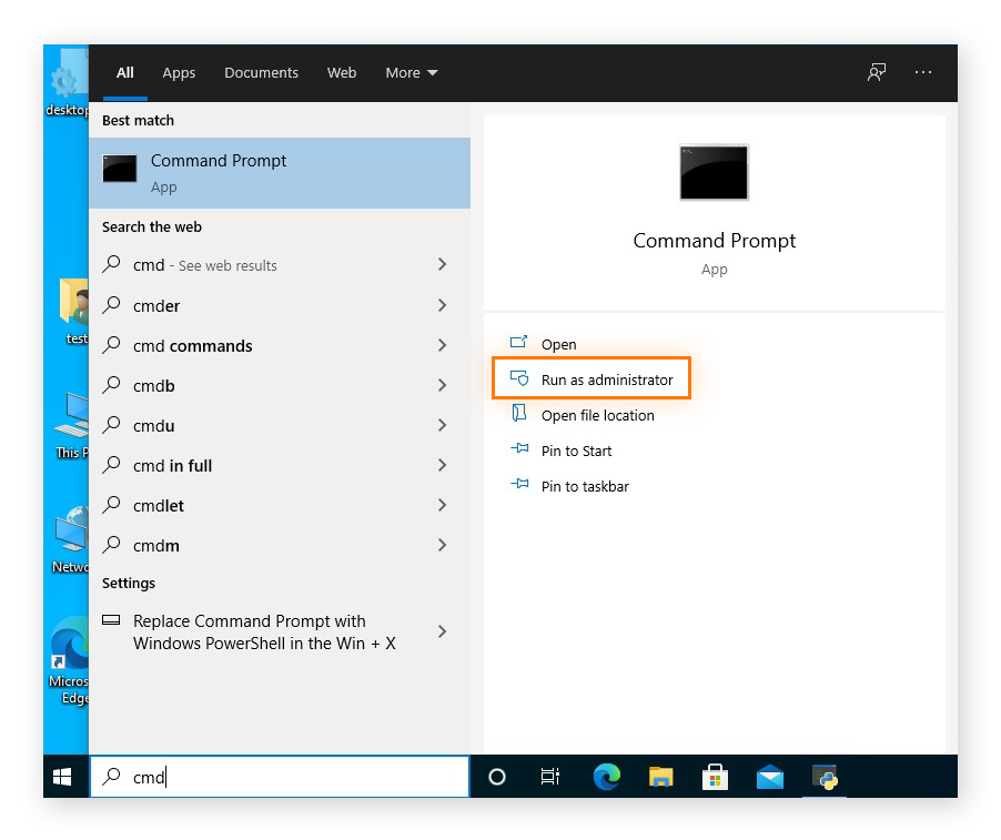 Running the Command Prompt as an administrator in Windows 10
