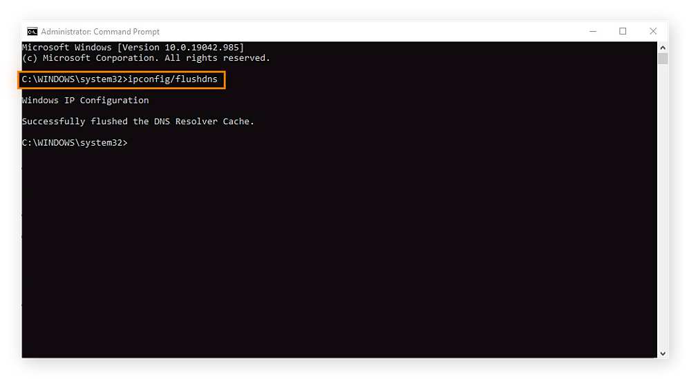 Clearing the DNS cache in the Windows Command Prompt with the ipconfig/flushdns command