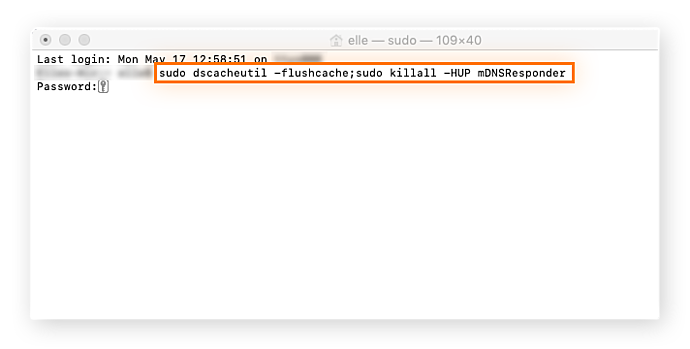Command in Terminal to flush the DNS cache on macOS.