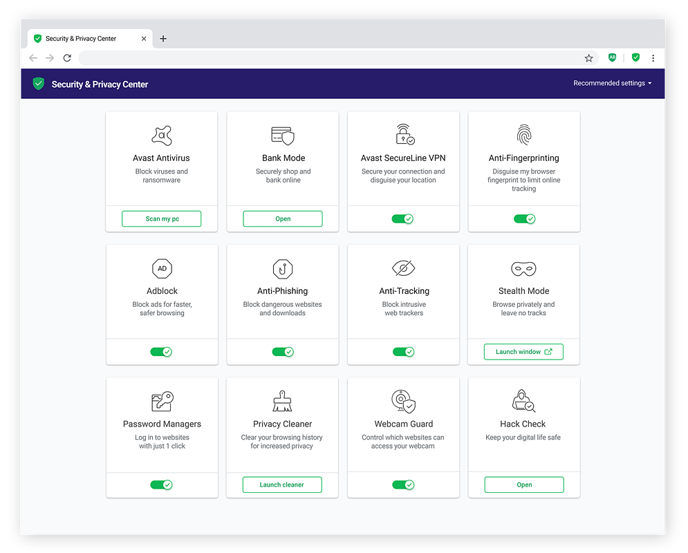 Avast Secure Browser lets you easily select the security and privacy features you need to stay private online.