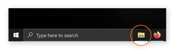 A screenshot of the taskbar, with the folder icon circled. Clicking this leads you to File Explorer.