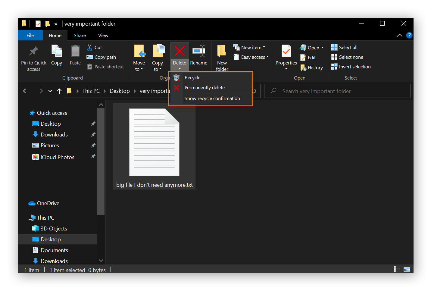 A screenshot of a file about to be deleted using File Explorer ribbon. Two options are shown: Recycle, and permanently delete.