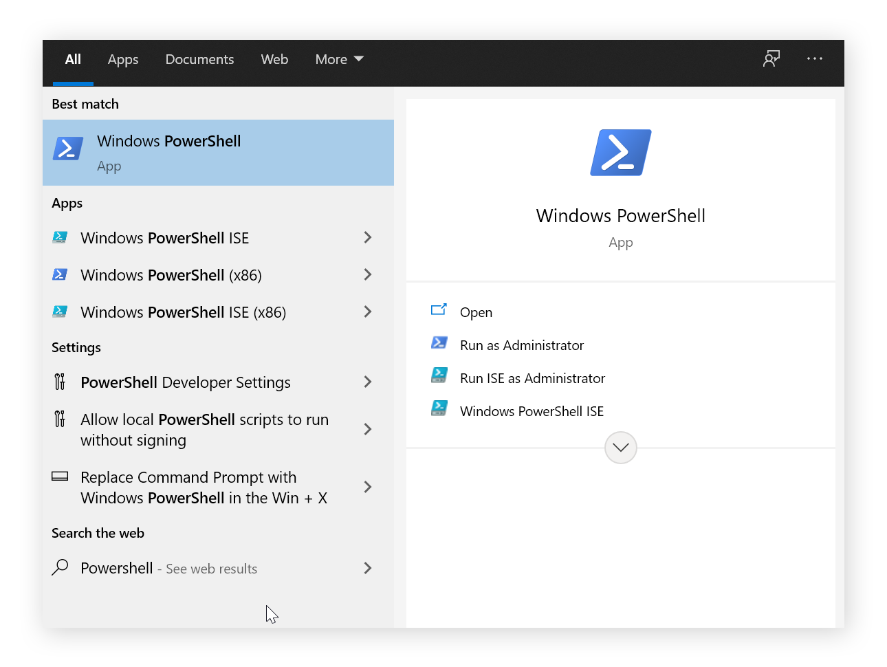 An image of start menu when Powershell is typed into it