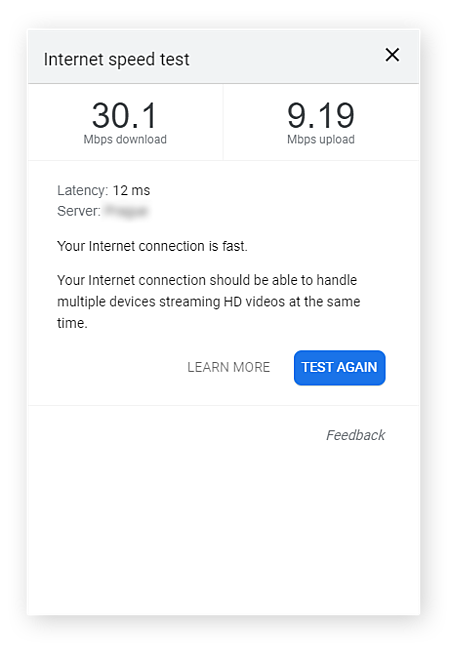 Testing internet download and upload speeds with Google's speed test tool