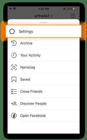 Screenshot of Instagram's Options menu.