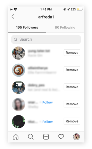 "A screenshot of an Instagram user looking at their followers list. Next to each follower is a button that says ""Remove."""