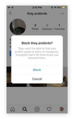 Screenshot of the confirmation screen for blocking a user.