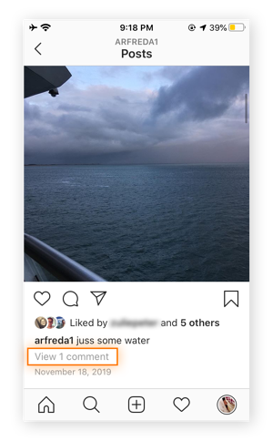 "An Instagram post that has a link underneath saying, ""View 1 comment."""