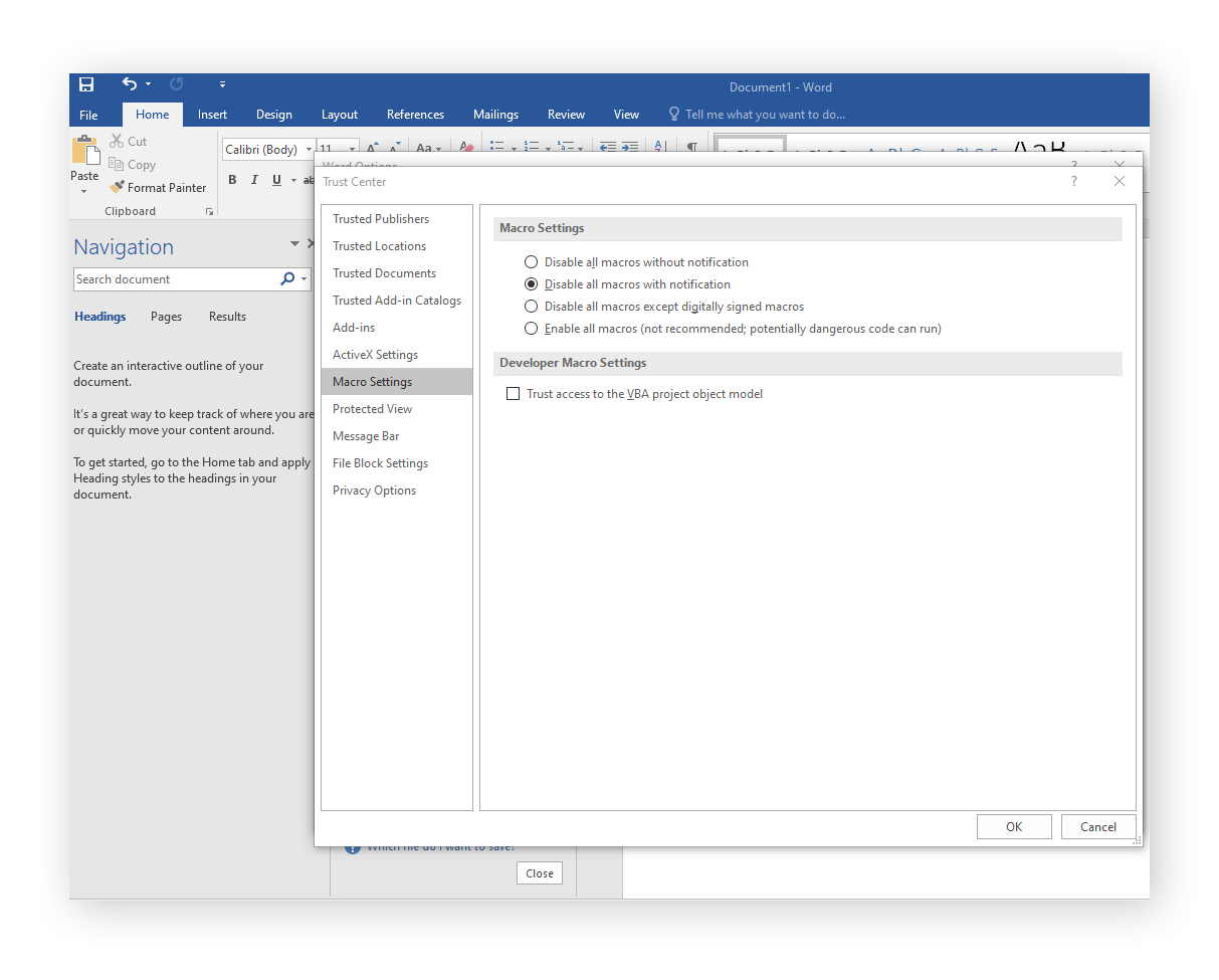 Configuring the Macro Settings in Microsoft Office Word