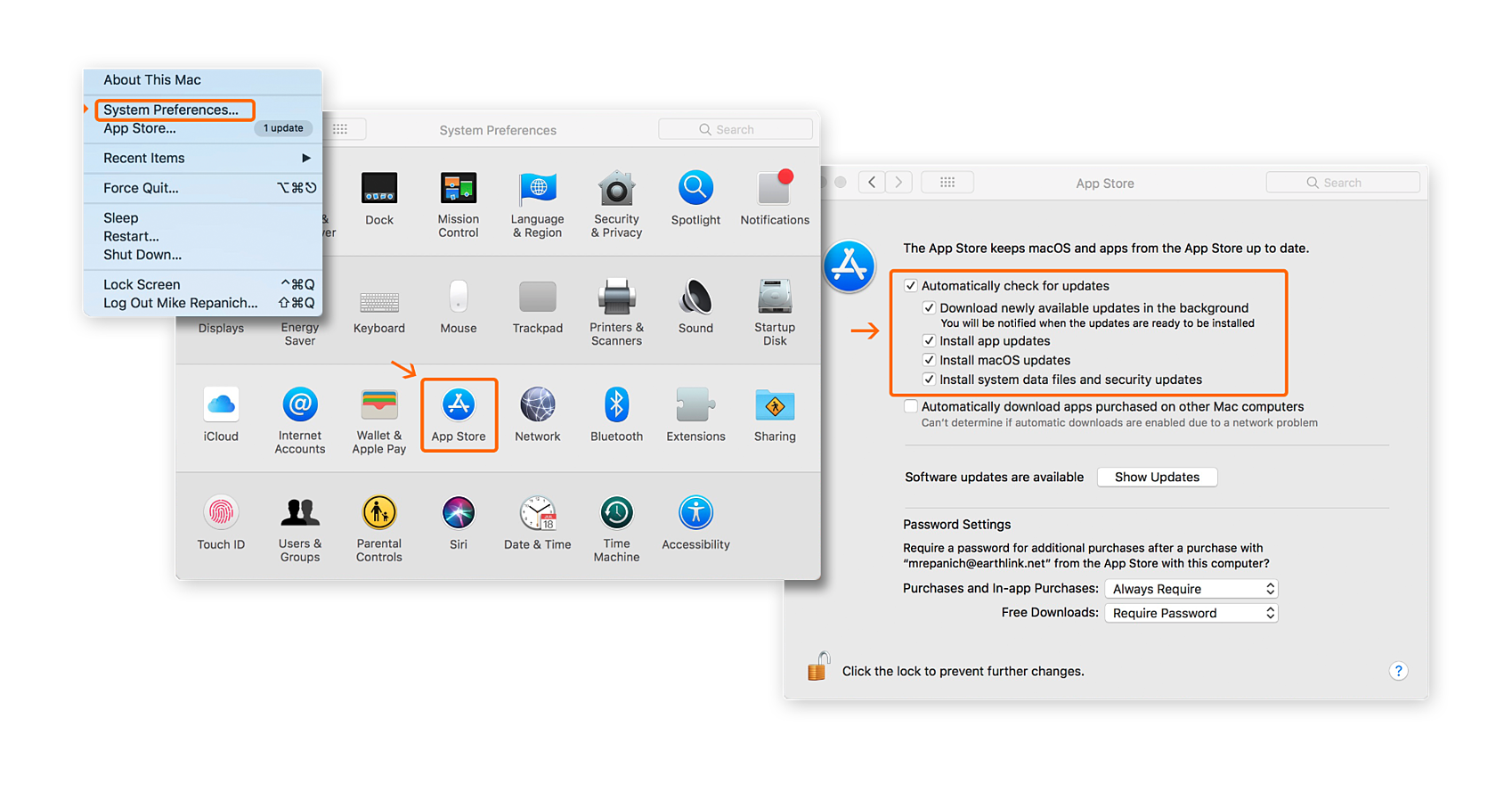 Setting the App Store preferences to always check for updates in macOS System Preferences.