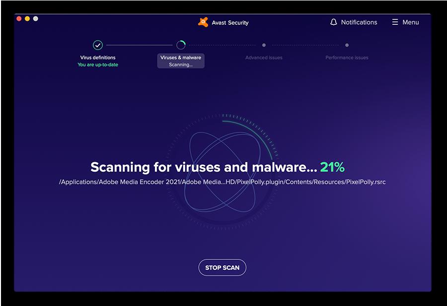 Realizar un análisis de malware con Avast Free Antivirus para macOS