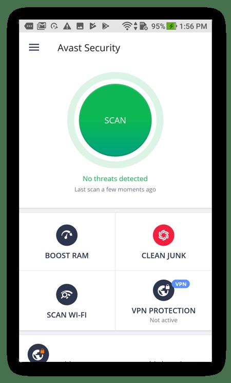 Avast Mobile Security para Android analiza el teléfono en busca de malware y otras amenazas.