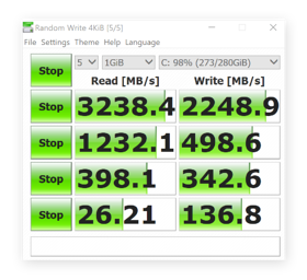 Crystal Disk Mark test results on a faster SSD