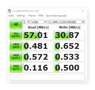 Crystal Disk Mark test results on a slower HDD