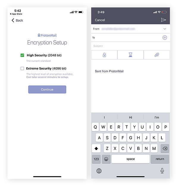 Use ProtonMail to select your preferred level of security for each of your emails.
