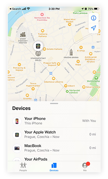 Locating a lost or stolen iPhone, Apple Watch, or AirPods with Find My iPhone.