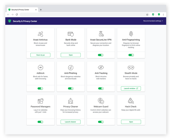 Avast Secure Browser's privacy & security center, showing the many advanced privacy features available.