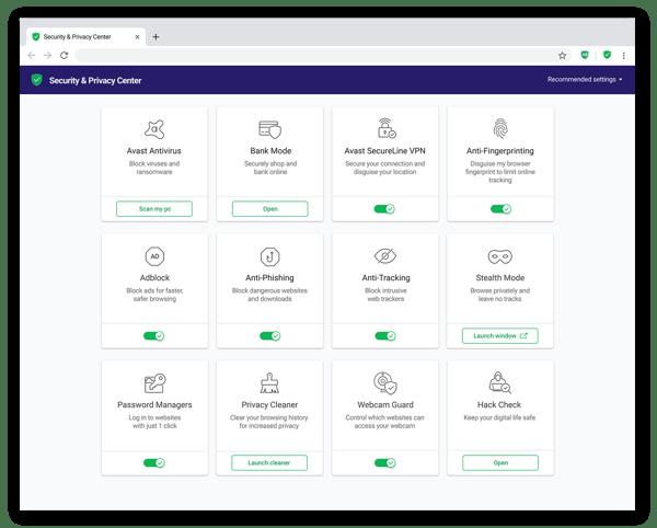 A central de segurança e privacidade do Avast Secure Browser mostra as diversas funcionalidades avançadas de privacidade disponíveis no produto.