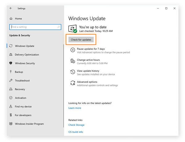 Checking for updates using Windows Update for Windows 10