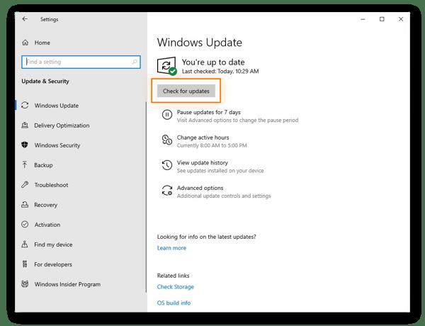 Suchen nach Updates mit Windows Update in Windows 10