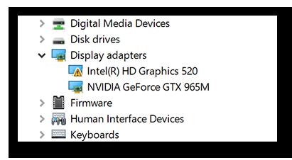 Suchen nach potenziellen Problemen mit dem Treiber für die Grafikkarte mithilfe von Geräte-Manager in Windows 10