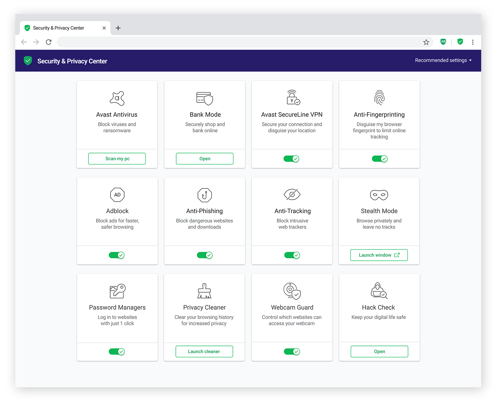 Avast Secure Browser offers dozens of privacy and security features built right in.