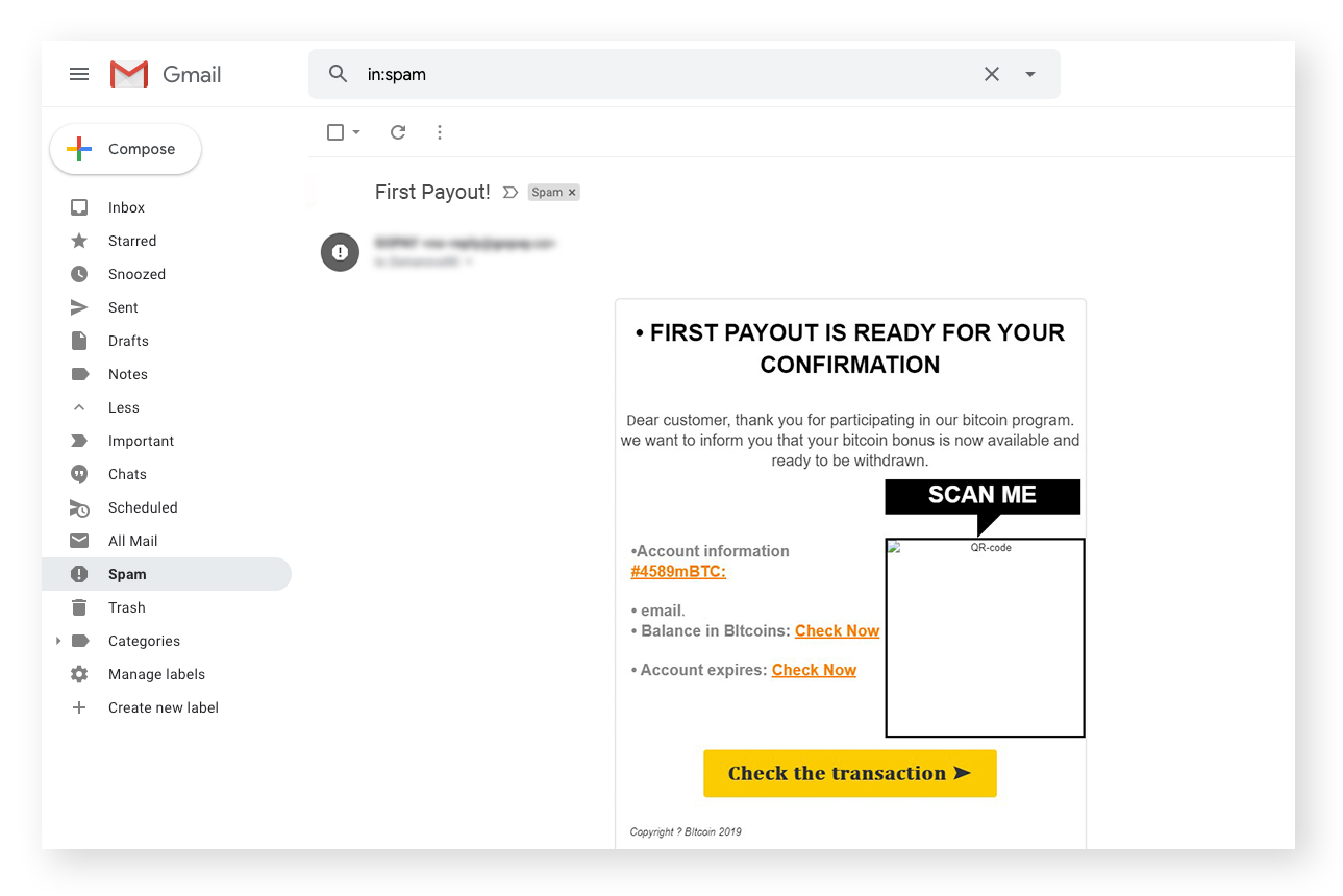 An example of a phishing email with a malicious link