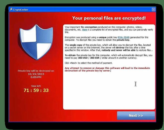 The CryptoLocker ransomware note
