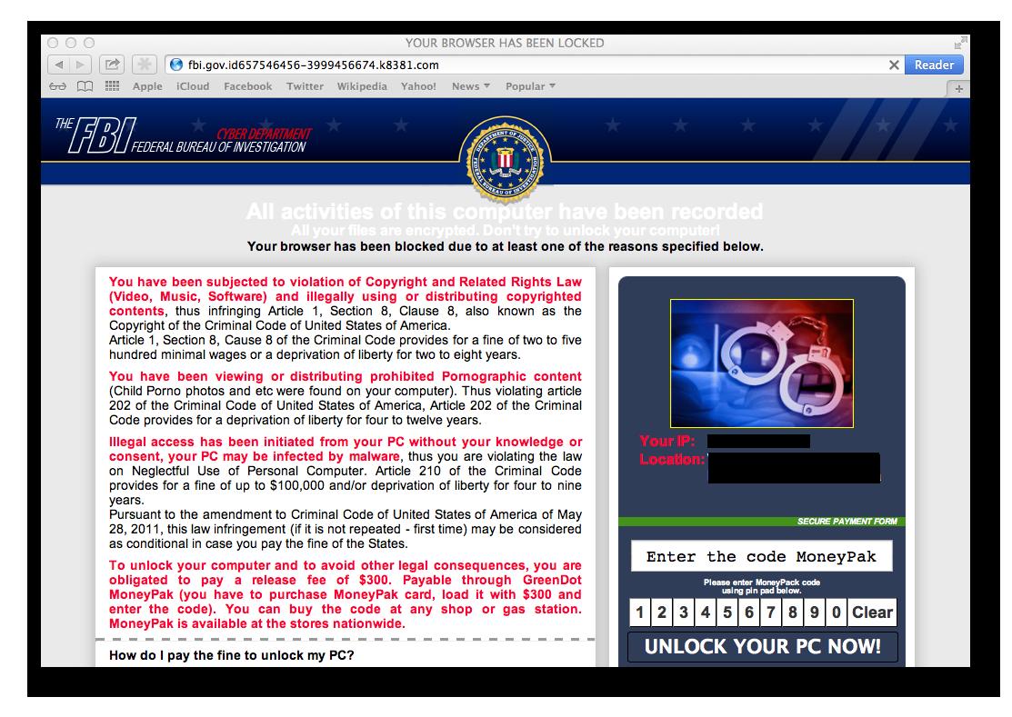 An example of screenlocker ransomware