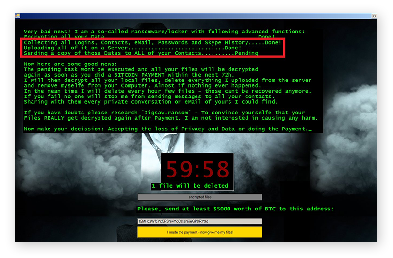 An example of a malware-based doxxing threat