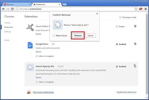 Toolbar Search App by Ask - Removal Confirm